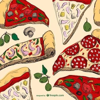 Des tranches de pizza dessin