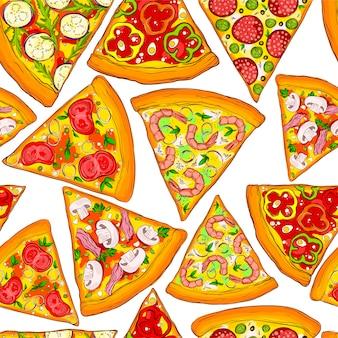 Tranches de pizza savoureuses de modèle sans couture.