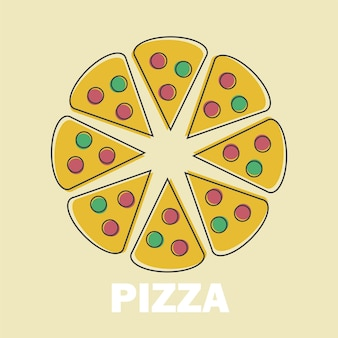 Tranches de pizza vector illustration dans line art flat style design image drôle pour le menu ou le symbole du site