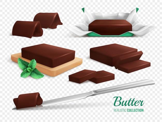 Tranches de rouleaux et de bâtons de délicieux beurre au chocolat réaliste set illustration