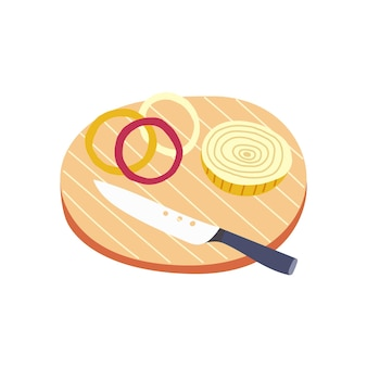 Trancheuse d'oignons de couteau de planche à découper en bois. préparation des ingrédients pour la cuisson. légumes de vecteur dessinés à la main