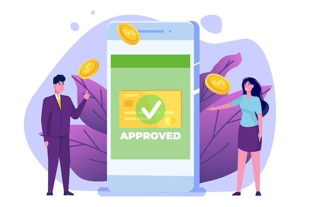 Transaction approuvée, transactions financières, paiement non monétaire, monnaie monétaire, concept de paiement nfc.