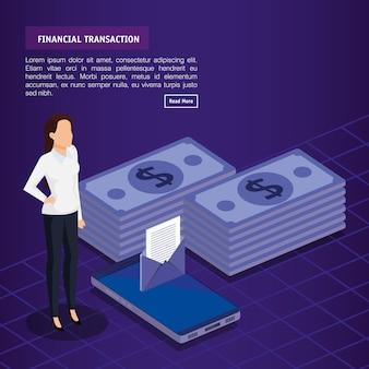 Transaction financière avec des gens d'affaires isométrique