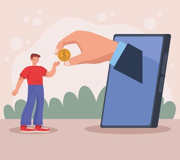 Transaction homme et smartphone
