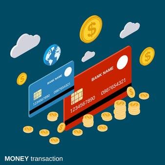 Transaction monétaire, virement financier, banque en ligne