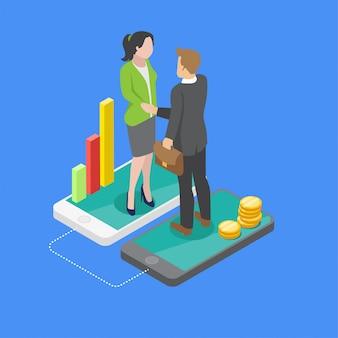 Transactions commerciales isométriques mobiles