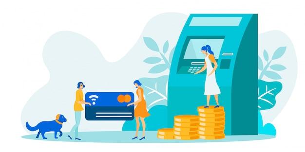 Transactions financières à l'aide d'un guichet automatique illustration