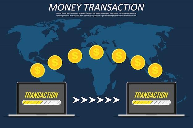 Transactions monétaires dans le monde, les affaires, la banque mobile et le paiement mobile. deux ordinateurs portables sur une carte du monde