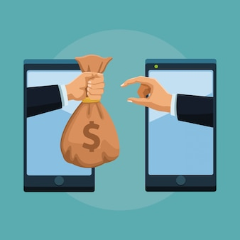 Transférer de l'argent en ligne depuis un smartphone