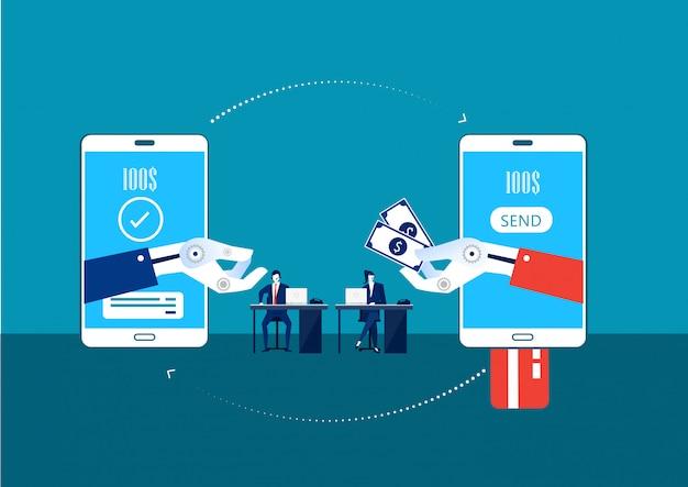 Transférer de l'argent via le concept électronique de robot mobile