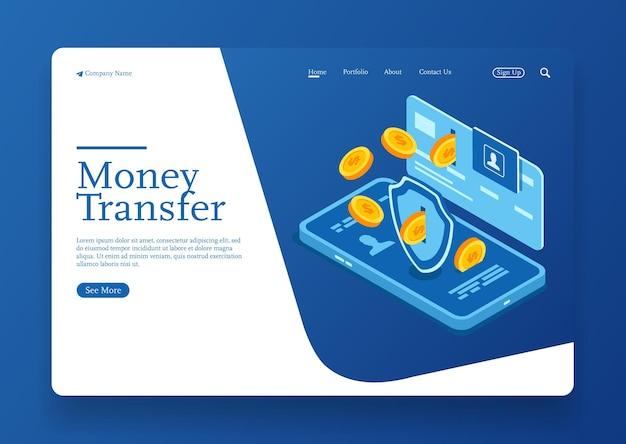 Transfert d'argent de la carte de crédit au concept isométrique de flux de pièces de conception vectorielle isométrique mobile