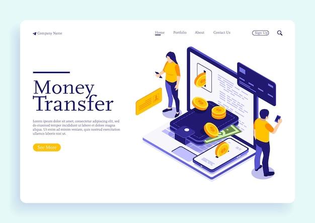 Transfert d'argent depuis et vers le portefeuille en conception vectorielle isométrique flux de capitaux gagner ou gagner de l'argent