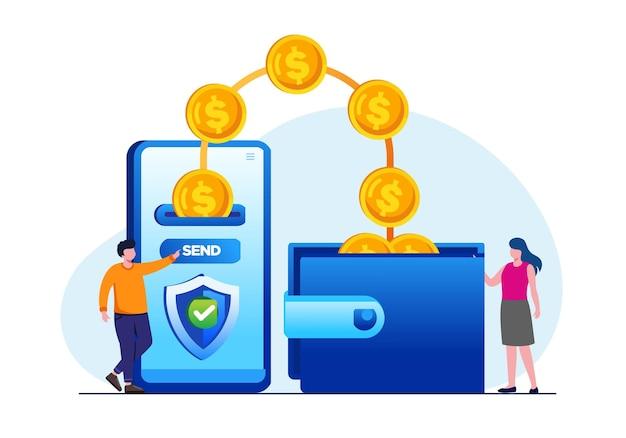 Transfert d'argent en ligne avec illustration vectorielle à plat de smartphone pour la bannière et la page de destination