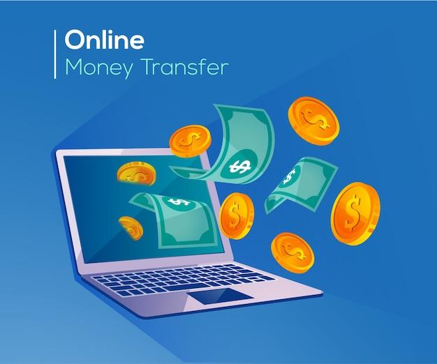 Transfert d'argent en ligne, paiements numériques avec ordinateur portable