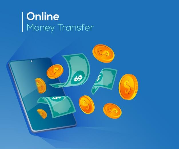 Transfert d'argent en ligne, paiements numériques avec smartphone