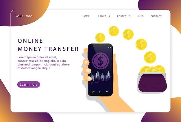 Transfert d'argent en ligne. service mobile. page de destination. pages web modernes pour sites web.