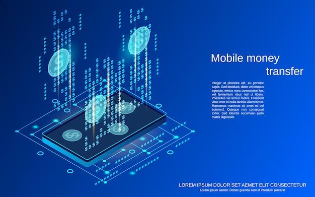 Transfert d'argent mobile illustration de concept de vecteur isométrique 3d plat