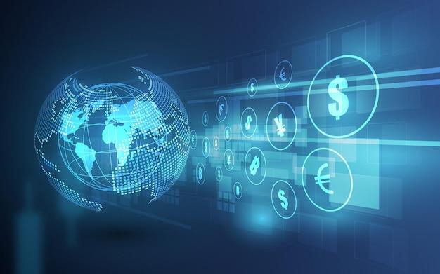 Transfert d'argent. monnaie mondiale. bourse. illustration vectorielle stock.