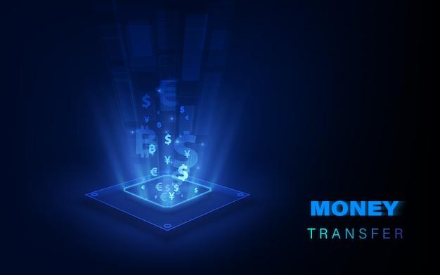 Transfert d'argent. monnaie mondiale. bourse.