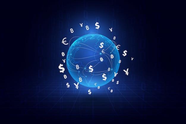 Transfert d'argent. monnaie mondiale