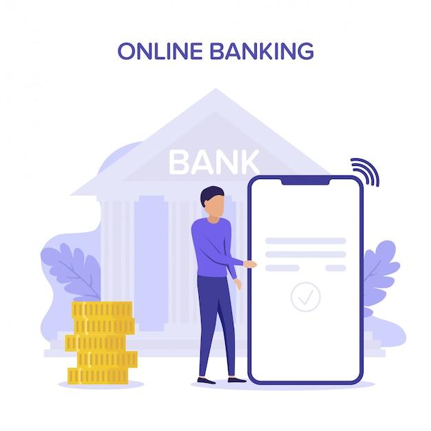Transfert d'argent et retrait d'argent avec portefeuille et smartphone. transaction bancaire en ligne, paiement. illustration de concept plat violet pour le web, page de destination, bannière.