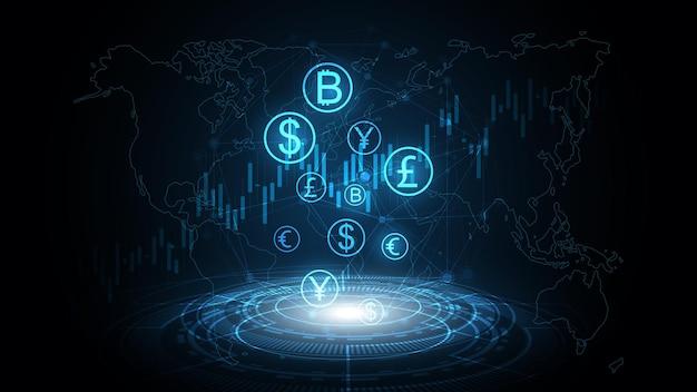 Transfert d'argent, transaction d'argent, réseau mondial de devises, concept d'entreprise de bourse