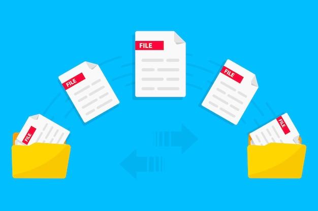 Transfert de fichier echange de données dossiers avec fichiers papier partage de fichiers copie transmission de documents