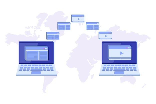 Transfert de fichiers sur le concept de l'ordinateur portable. pourrait représenter la synchronisation.