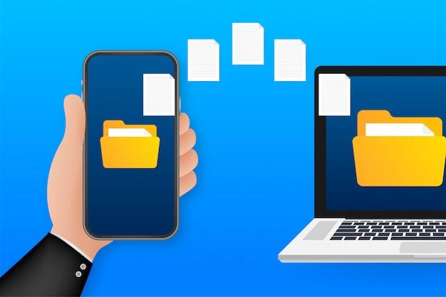 Transfert de fichiers d'images de données entre le smartphone de l'appareil. transfert de fichiers copier des fichiers concept d'échange de fiches techniques. illustration.