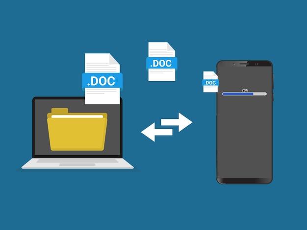 Transfert de fichiers d'un ordinateur portable au téléphone