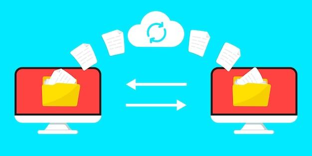Transfert de fichiers téléchargement à distance de fichiers et de dossiers deux ordinateurs portables échangeant des données
