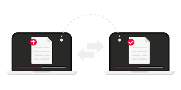 Transfert de fichiers transfert de fichiers de données entre appareils transmission de documents entre deux ordinateurs