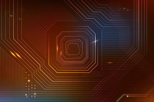 Transformation numérique des données de fond de micropuce futuriste marron