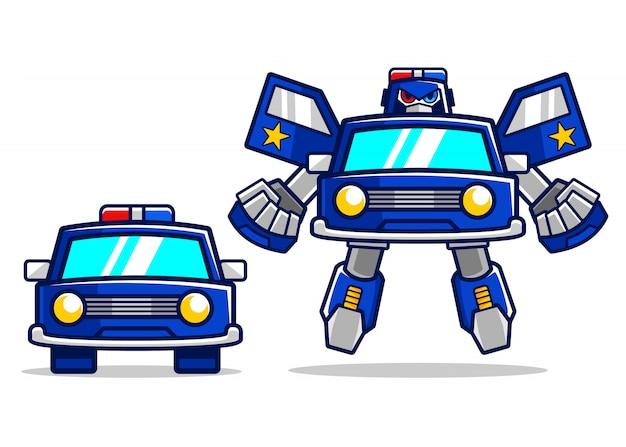 Transformation de robot de voiture de police de dessin animé