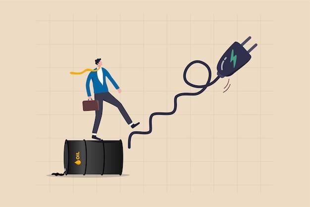 Transition Mondiale De L'énergie Pétrolière Fossile à L'énergie électrique Propre, De La Voiture à Combustion Au Concept Ev, Un Homme D'affaires Investisseur Ou Un Propriétaire De Voiture Passe Du Gallon D'huile à La Cage D'escalier En Chargeur électrique. Vecteur Premium