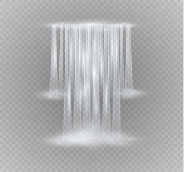 Transparent réaliste, nature, ruisseau de cascade avec de l'eau claire isolée.