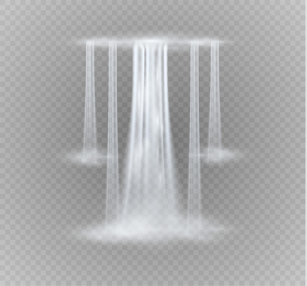 Transparent réaliste, ruisseau de cascade avec de l'eau claire et des bulles isolées sur fond transparent.