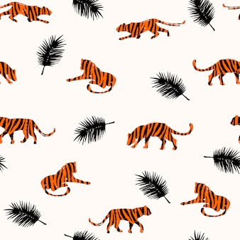 Transparente motif exotique avec des silhouettes abstraites des tigres.
