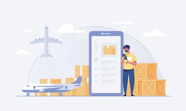 Transport aérien qui peut être livré n'importe où. il existe un système permettant aux clients de vérifier l'état du produit. illustration vectorielle