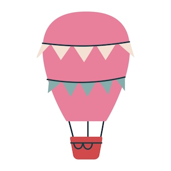 Transport de ballon rose mignon avec des drapeaux. impression vectorielle pour les enfants. vol dans le ciel. minimalisme pour la pépinière ou l'impression. clipart art enfantin isolé