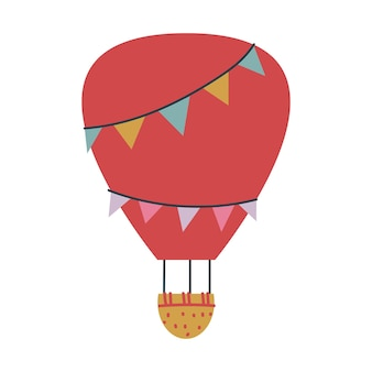 Transport de ballon rouge mignon. impression vectorielle pour les enfants. vol dans le ciel. minimalisme pour une pépinière ou une impression. clipart art bébé ciel isolé