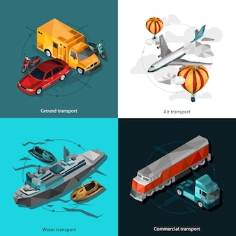 Transport bas icônes polygonales ensemble