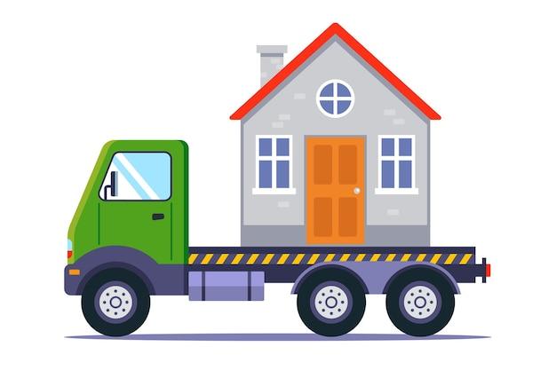 Transport d'un bâtiment par camion