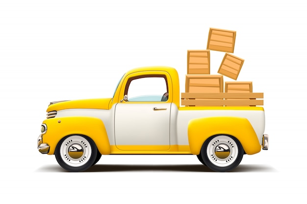 Transport bicolore voiture rétro