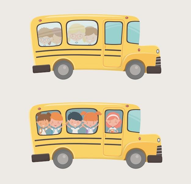 Transport en bus scolaire avec un groupe d'enfants