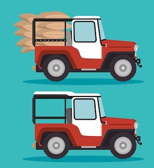 Transport de café en jeep