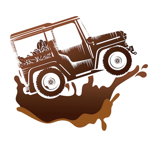 Transport de café en jeep