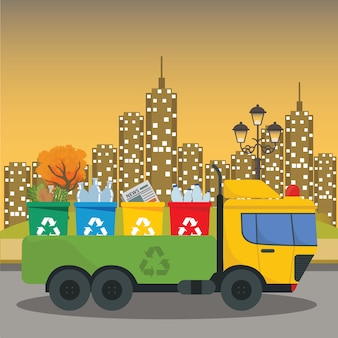 Transport des camions élimination des déchets