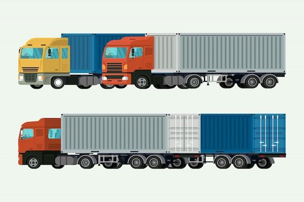 Transport de conteneurs par camion, cargaison d'expédition. illustration vectorielle