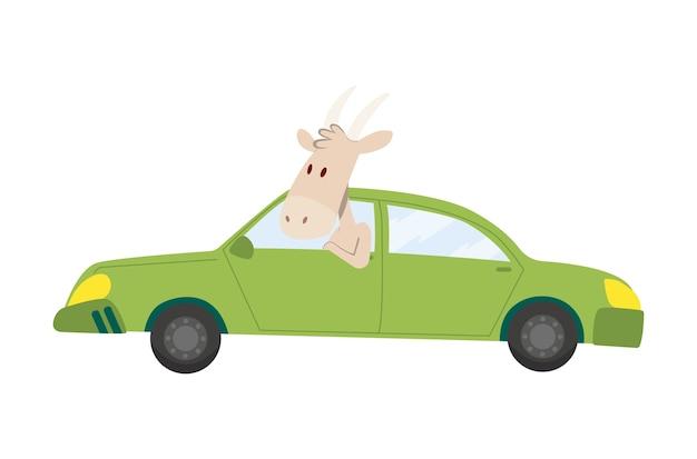 Transport d'enfants colorés avec une jolie petite chèvre.